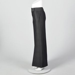 XS 1990s Giorgio Armani Wide Leg Pants Black on Black Houndstooth Low Rise Pants Silk Wool Blend  - Fashionconstellate.com
