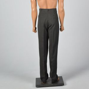 Medium 32x37 1950s Mens Pants Gray Flat Front Rockabilly Tapered Leg Textured Trousers - Fashionconstellate.com
