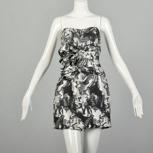 Small 2010s Ark & Co Dress Black and White Strapless Cocktail Party