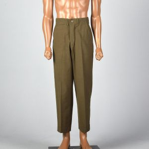 Small 29x28 1940s Mens Pants Military Olive Button Fly Wool High Waist Flat Front Trousers - Fashionconstellate.com