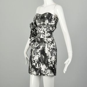 Small 2010s Ark & Co Dress Black and White Strapless Cocktail Party - Fashionconstellate.com