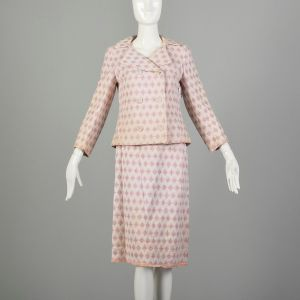 Small 1960s Two Piece Ensemble Pink White Theater Costume Outfit AS IS