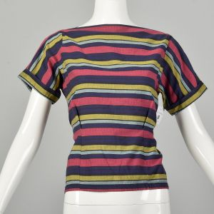 Medium 1950s Fitted Bodice Summer Top Short Cuffed Sleeve Stripe Cotton Blouse