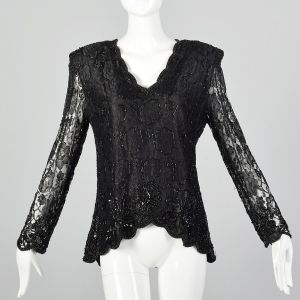 Large 1980s Black Lace Top Beaded V-Neck Long Sleeve Formal Evening Blouse