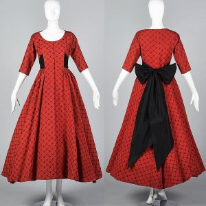 Small 1950s Dress Red Faille Black Velvet Flocked Formal Long Full Skirt Holiday Gown