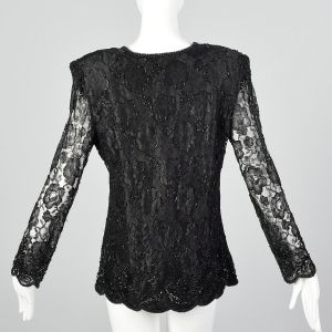 Large 1980s Black Lace Top Beaded V-Neck Long Sleeve Formal Evening Blouse - Fashionconstellate.com