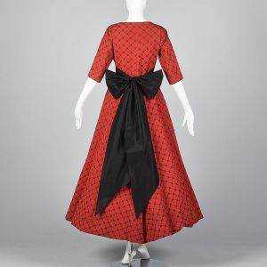 Small 1950s Dress Red Faille Black Velvet Flocked Formal Long Full Skirt Holiday Gown - Fashionconstellate.com