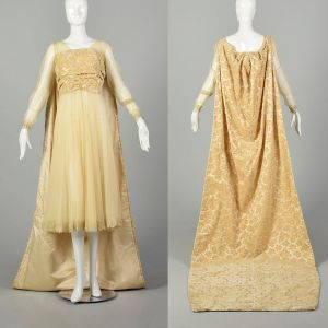 Small 1920s Wedding Dress Mesh Gown Tapestry Train Lace Bridal Gown