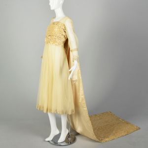 Small 1920s Wedding Dress Mesh Gown Tapestry Train Lace Bridal Gown - Fashionconstellate.com