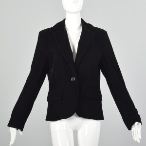 Medium Paco Rabanne 1990s Blazer Black Velvet Jacket Minimalist Workwear