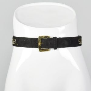 Small 1990s Sonia Rykiel Studded Leather Belt Black Suede Hammered Metal Gold Logo