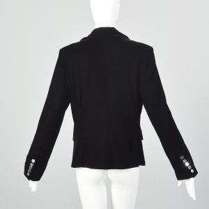 Medium Paco Rabanne 1990s Blazer Black Velvet Jacket Minimalist Workwear - Fashionconstellate.com