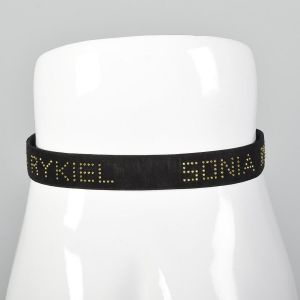 Small 1990s Sonia Rykiel Studded Leather Belt Black Suede Hammered Metal Gold Logo  - Fashionconstellate.com