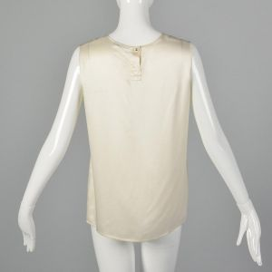 Medium 1980s Chanel Tank Top Ivory Blouse Designer Silk Sleeveless Shell Classic Off White Shirt  - Fashionconstellate.com