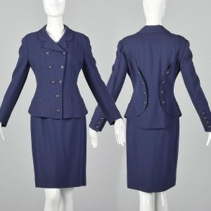 Small 1990s Karl Lagerfeld Blue Skirt Suit Hourglass Blazer Jacket Double Breasted