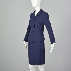 Small 1990s Karl Lagerfeld Blue Skirt Suit Hourglass Blazer Jacket Double Breasted  - Fashionconstellate.com