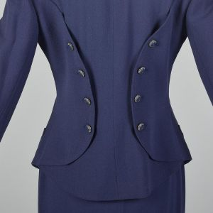 Small 1990s Skirt Suit Karl Lagerfeld Blue Hourglass Blazer Jacket Double Breasted Pencil Skirt Set - Fashionconstellate.com