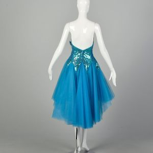 1980s Dress Teal Strapless Tulle Sequin Bustle Prom Gown Asymmetrical Hem - Fashionconstellate.com