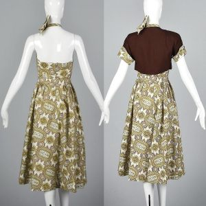 XS 1950s Dress Halter Neck Backless Rockabilly Portrait Collar Matching Brown Jacket - Fashionconstellate.com