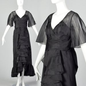 XS Black Maxi Dress 1970s Organdy Ruffled Sheer Skirt Formal Prom Dress
