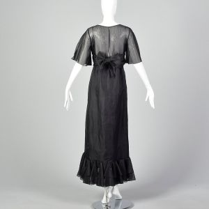 XS Black Maxi Dress 1970s Organdy Ruffled Sheer Skirt Formal Prom Dress - Fashionconstellate.com