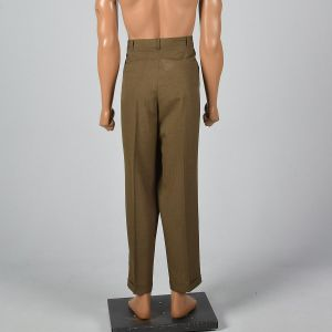 40x30 XL 1960s Mens Pants Brown Flat Front Tapered Leg Trouser Summer Weight - Fashionconstellate.com