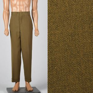 Xl 40x30 1960s Mens Pants Brown Flat Front Tapered Leg Trouser