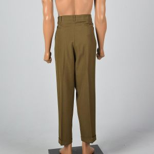 Xl 40x30 1960s Mens Pants Brown Flat Front Tapered Leg Trouser - Fashionconstellate.com