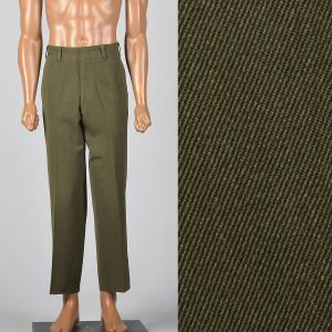 Medium 1950s Mens Pants Olive Crease Front 50s Rockabilly Trousers
