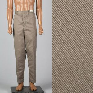 Large 1960s Deadstock Brown Pants Sanforized Cotton Flat Front Pockets Tapered Leg