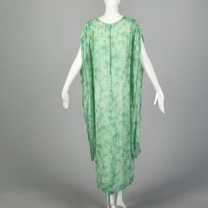 Small 1970s Givenchy Nouvelle Boutique Kaftan Green Silk Chiffon Maxi Dress Boho  - Fashionconstellate.com