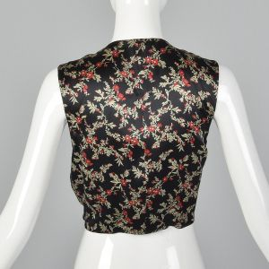 1970s Black Silk Crop Top Vest Floral Print Sleeveless with Waist Ties  - Fashionconstellate.com