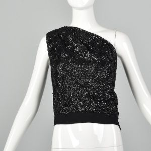 Small 1960s One Shoulder Top Sequin Shirt Asymmetrical Sleeveless Blouse Cocktail Formal