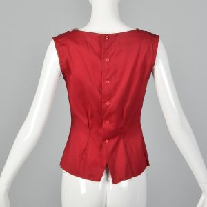 XXS 1950s Red Tank Top Cotton Sleeveless Button Back Unique Collar  - Fashionconstellate.com