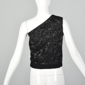 Small 1960s One Shoulder Top Sequin Shirt Asymmetrical Sleeveless Blouse Cocktail Formal - Fashionconstellate.com