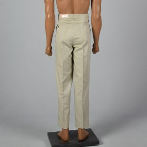 Large 1960s Deadstock Tan Pants Combed Cotton Flat Front Slanted Pockets Adjustable Waist  - Fashionconstellate.com