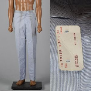 Small 1960s Mens Pants Blue Micro Stripe Slim Fit Flat Front Trousers
