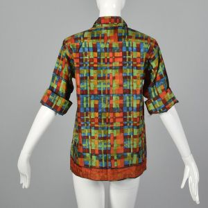 Medium Deadstock Abstract Plaid Top Short Sleeve Silky Feel Button Down Wide Cuffs Lightweight  - Fashionconstellate.com
