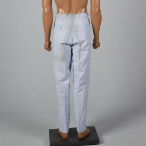 Small 1960s Mens Pants Blue Micro Stripe Slim Fit Flat Front Trousers - Fashionconstellate.com