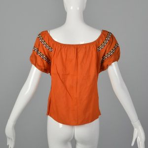 Medium 1960s Peasant Blouse Rockabilly Bright Orange Off Shoulder Summer Top Pinup Shirt - Fashionconstellate.com
