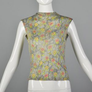 Small 1960s Floral Print Tank Top Jersey Silk Marshall Field Globe Trotter Shop Sleeveless Back Zip