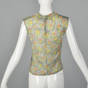 Small 1960s Marshall Field Floral Print Tank Top Jersey Silk Sleeveless Back Zip  - Fashionconstellate.com