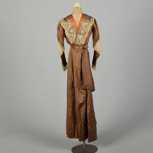 XXS 1900s Silk Dress Victorian Lace Colorful Brown Long Sleeve As Is - Fashionconstellate.com