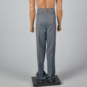Large 1950s Mens Pants Hollywood Waist Blue Top Stitch Pleated Front Rockabilly Trousers - Fashionconstellate.com