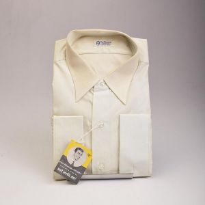 1950s Deadstock Mens Cotton Dress Shirt Long Sleeve French Cuffs Single Pocket  - Fashionconstellate.com