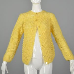 Large 1960s Yellow Cardigan Hand Knit In Italy Puff Stitch Sweater