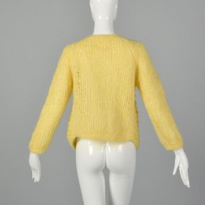 Large 1960s Yellow Cardigan Hand Knit In Italy Puff Stitch Sweater - Fashionconstellate.com