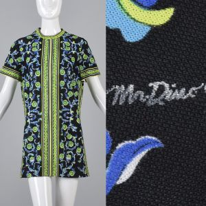 XL 1970s Mr Dino Black Tunic Top Short Sleeve Green Casual Summer Shirt