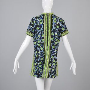 XL 1970s Mr Dino Black Tunic Top Short Sleeve Green Casual Summer Shirt  - Fashionconstellate.com