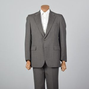 Medium 1960s 38R  Brown Stripe Suit Convertible Pocket Single Vent Jacket Flat Front Straight Pants - Fashionconstellate.com